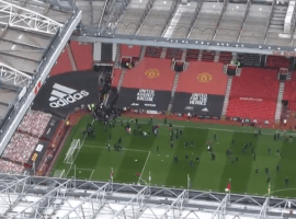 Angry Man United fans have broken into Old Trafford before the game against Liverpool to protest against the club's American owners. (Image: Sky Sports)