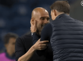 Chelsea boss Thomas Tuchel tried to comfort City's Pep Guardiola after beating him in the Champions League final. (Image: BT Sport)