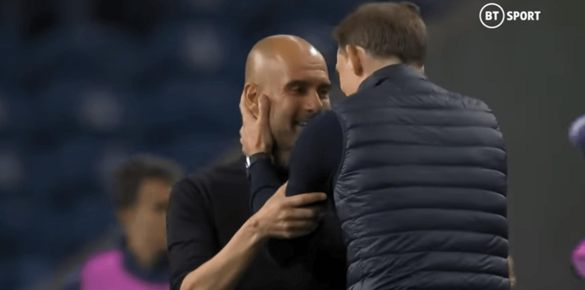 Thomas Tuchel comforting Guardiola