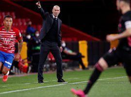 Zinedine Zidane leading Real Madrid from the bench in the La Liga game vs Granada. (Image: Twitter / @RealMadrid)