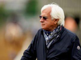 Bob Baffert filed suit against the New York Racing Association Monday, claiming the organization had no legal jurisdiction to suspend him. (Image: Charlie Riedel/AP File Photo)