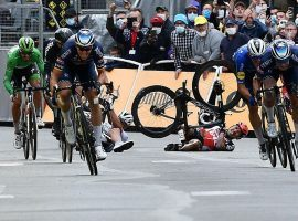 Caleb Ewan from Lotto Soudal crashes in the final sprint at the finish line at Pontivy in Stage 3 of the Tour de France. (Image: Reuters)