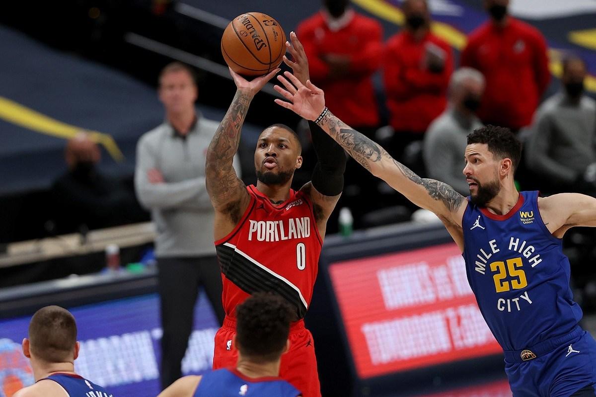 Denver Nuggets Damian Lillard Portland Trail Blazers NBA Playoffs Game 5 record 3-pointers