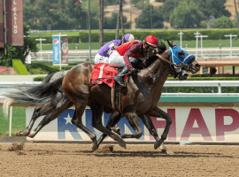 Dr Schivel and Flavien Prat made their move just in time to score a head victory in the colt's return from a 9 1/2-month layoff. (Image: Benoit Photography)