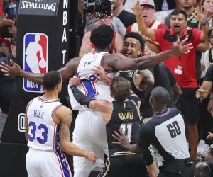 Joel Embiid John Collins NBA Playoffs Game 7 Philadelphia 76ers Atlanta Hawks
