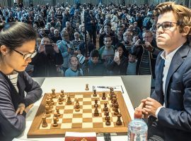The top women's chess player in the world, Hou Yifan (left) and World Chess Champion Magnus Carlsen (right) will headline the field for the Goldmoney Asian Rapid. (Image: Eric van Reem/Chess.com)