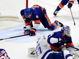 The Islanders will head into Game 5 of the Stanley Cup Semifinals tied 2-2 with the Lightning after Ryan Pulock made a last-second save to preserve a Game 4 win. (Image: Getty)