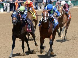 Jackie's Warrior (right) held off Dream Shake to win last month's Pat Day Mile. Race fans would take a repeat of this stretch drive in Saturday's Grade 1 Woody Stephen Stakes at Belmont Park. (Image: Churchill Downs/Coady Photography)
