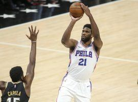 Joel Embiid from the Philadelphia 76ers squares up for a 3-point shot against the Atlanta Hawks in the Eastern Conference semifinals. (Image: Brett Davis/USA Today Sports)