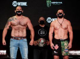 Timothy Johnson (left) and Valentin Moldavsky (right) will face off for the Bellator interim heavyweight title at Bellator 261 on Friday. (Image: Twitter/BellatorMMA)