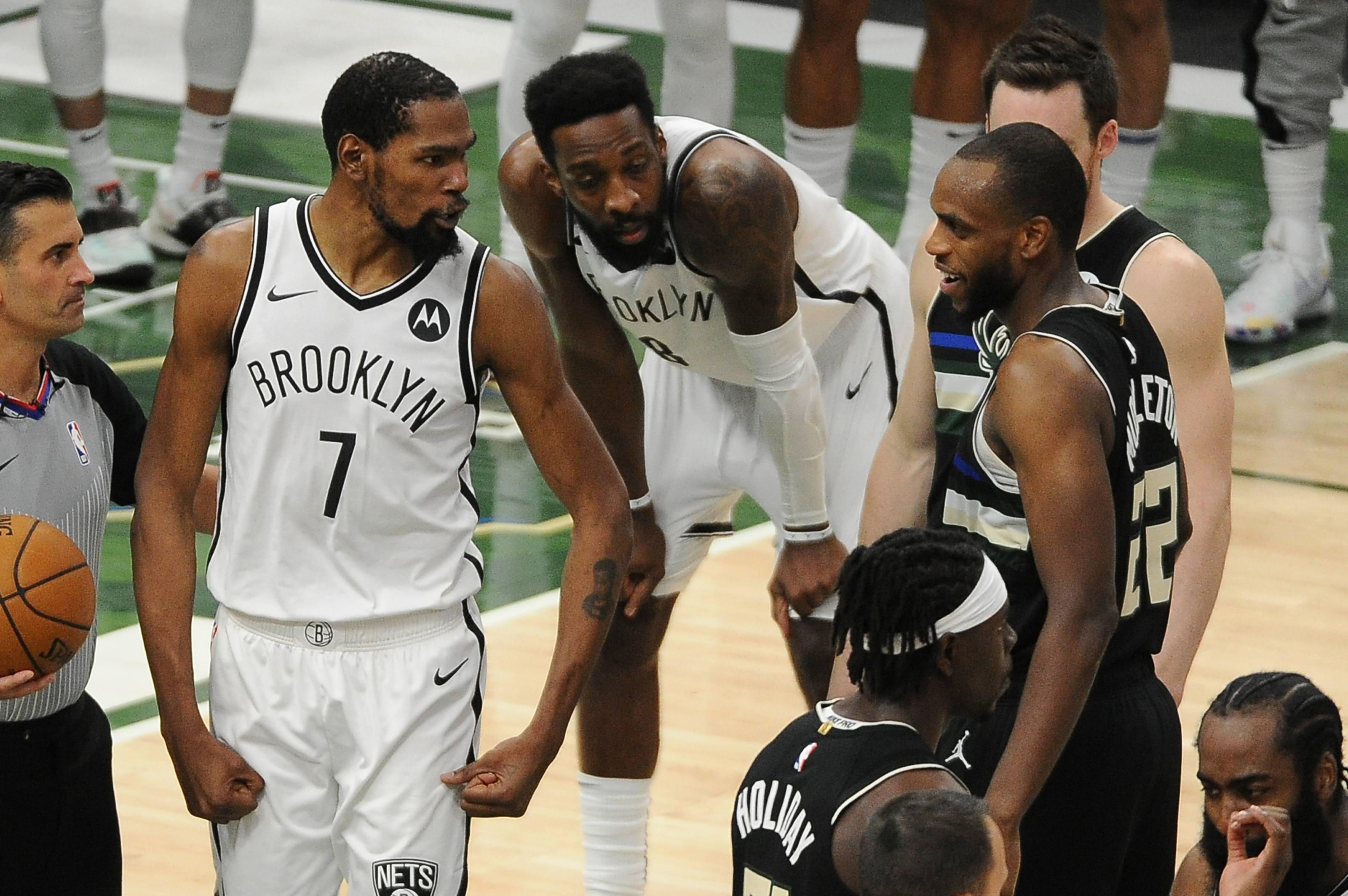 Kevin Durant Khris Middleton Playoff NBA Brooklyn Nets Milwaukee Bucks Game 7