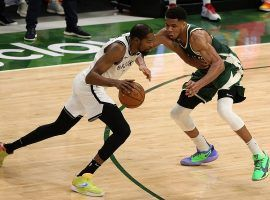 Kevin Durant of the Brooklyn Nets drives to the hole against Giannis 'Greek Freak' Antetokounmpo of the Milwaukee Bucks. (Image: Getty)