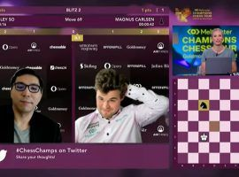 Magnus Carlsen breathed a sign of relief after surviving a furious comeback from Welsey So in the Goldmoney Asian Rapid quarterfinals. (Image: Youtube/chess24)