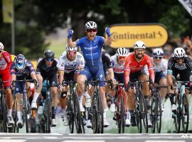 Mark Cavendish from Deceuninck-QuickStep celebrates at finish line at Fougeres for a victory in Stage 4 of the 2021 Tour de France. (Image: Reuters)