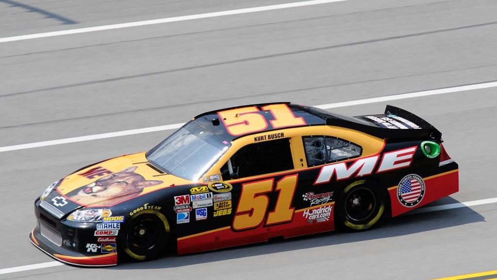 Kurt Busch pokes fun at NASCAR's sponsorship model with Talladega Nights knockoff paint scheme.
