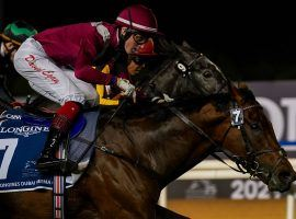Mishriff, seen here winning the Sheema Dubai Classic in March, is the 13/8 favorite in Saturday's Group 1 Eclipse Stakes at Sandown Park. (Image: Mathea Kelly/Dubai Jockey Club)