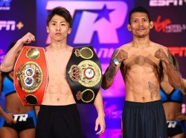 Naoya Inoue (left) will defend his bantamweight titles against Michael Dasmarinas (right) on Saturday, June 19 in Las Vegas. (Image: Mikey Williams/Top Rank/Getty)