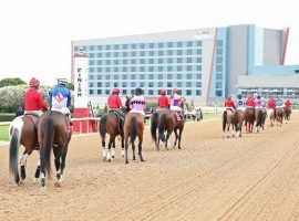You'll see December post parades at Oaklawn Park this winter if the Arkansas Racing Commission approves the track's proposed meet extension. That would push Oaklawn's opening date from late January to early December. (Image: Coady Photography)