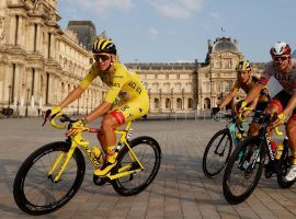 Tadej Pogacar from Team UAE rides into Paris with the yellow jersey during the final stage of the 2020 Tour de France. (Image: Reuters)