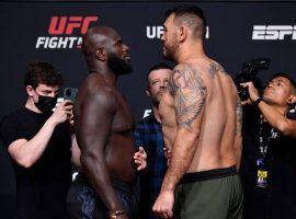 Jairzinho Rozenstruik (left) and Augusto Sakai (right) will face off in a heavyweight showdown this Saturday at UFC Fight Night 189. (Image: Jeff Bottari/Zuffa)
