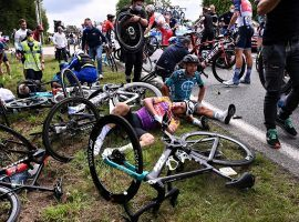 It was impossible for the peloton to avoid the carnage after the first crash in Stage 1 of the 2021 Tour de France, which began in Brest and finished in Landerneau. (Image: EPA)