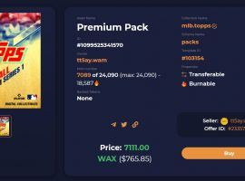 Sports NFTs are broadly dropping in price, but some products – like Topps MLB Premium Packs – are managing to hold their ground rather well. (Image: AtomicHub)