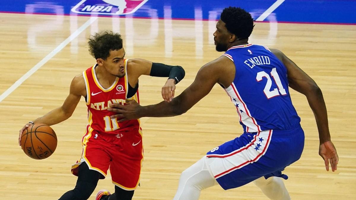Trae Young Joel Embiid Atlanta Hawks Philadelphia 76ers NBA Playoffs Game 6