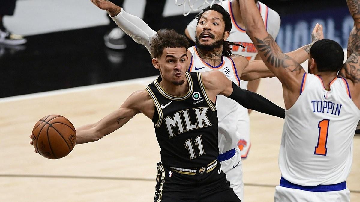 Atlanta Hawks New York Knicks Game 5 Playoff NBA Trae Young Derrick Rose Julius Randle