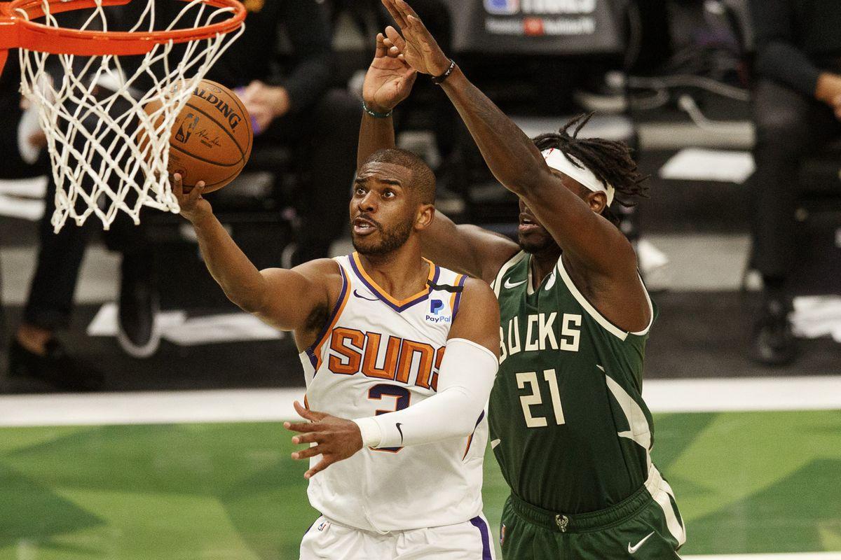 Jrue Holiday Chris Paul NBA Finals Game 5 Phoenix Suns Milwaukee Bucks