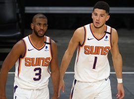 Chris Paul and Devin Booker from the Phoenix Suns are the top two favorites on the prop betting board to win the 2021 NBA Finals MVP. (Image: Getty)