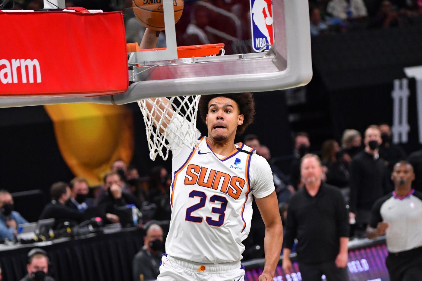 Cam Johnson dunk video PJ Tucker NBA Finals Game 3 Suns Bucks