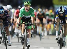 Mark Cavendish edges out Deceuninck-QuickStep teammate Michael Morkov (right) and Jasper Philipsen (Alpecin-Fenix) at the finish line to win Stage 13 of the 2021 Tour de France at Carcassonne. (Image: Reuters)