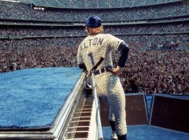 Elton John during a concert at Dodger Stadium in Los Angeles in 1975. (Image: Getty)