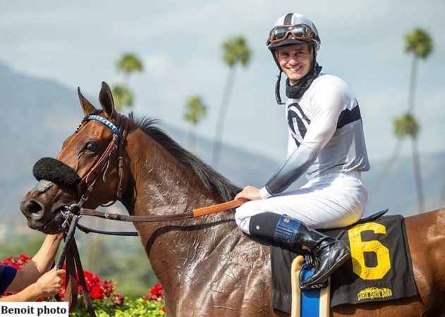 Flavien Prat rode Going Global to all four of her US stakes victories. That streak goes to the test Saturday in the Grade 2 San Clemente at Del Marl. (Image: Benoit Photo)