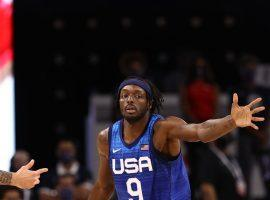 Jerami Grant, seen here playing defense against Argentina in an exhibition game earlier this week, is currently out for Team USA due to COVID-19 health and safety protocols (Image: Getty)