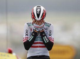 An emotional Patrick Konrad (Bora-Hansgrohe) survived the dangerous descent at Col de Portet d'Aspet to win Stage 16 of the Tour de France. (Image: Stephane Mahe/Reuters)