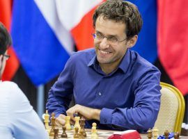 Levon Aronian (pictured) came from behind to eliminate Manus Carlsen from the Goldmoney Asian Rapid. (Image: Maria Emelianova/Chess.com)