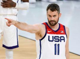 An injured Kevin Love from the Cleveland Cavaliers had to pull out of the Tokyo Olympics. (Image: Getty)