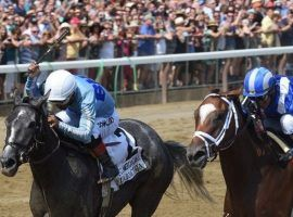 Maracuja (left) outkicked previous unbeaten Malathaat to win last Saturday's CCA Oaks. The two are on a path to tangle again in the Aug. 21 Grade 1 Alabama Stakes at Saratoga. (Image: Elsa Lorieul/NYRA)