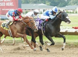 Masqueparade (10) held off King Fury to win the Grade 3 Ohio Derby in June. Can the talented, but untested colt, make the next leap in the Grade 2 Jim Dandy Stakes? (Image: JJ Zamaiko Photography)