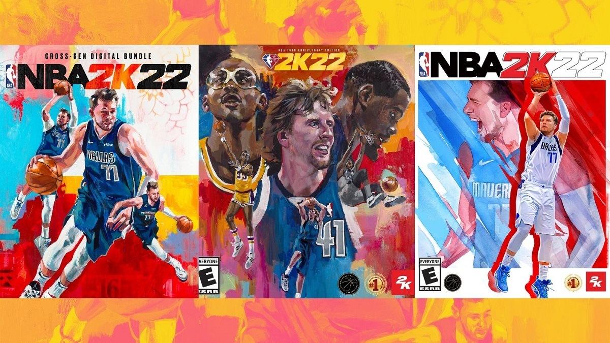 NBA 2K 2K22 Cover Luka Doncic Kareem Abdul-Jabbar Kevin Durant Dirk Nowitzki