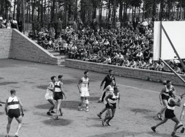 Men's basketball was played outdoors on grass tennis courts during the 1936 Olympics in Berlin, Germany. (Image: Getty)