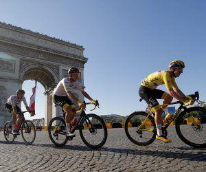 Tadej Pogacar 2021 Tour de France yellow jersey champion back-to-back