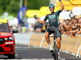 Nils Politt from Bora-Hansgrohe thrust his arms in the air after a solo finish in Tour de France Stage 12 at Nimes. (Image: Reuters)