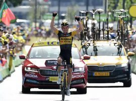 Sepp Kuss from Jumbo-Visma wins Stage 15 of the Tour de France during a difficult mountain stage in the Pyrenees, which ended in Andorra. (Image: Getty)