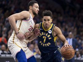 Ben Simmons from the Philadelphia 76ers defends Malcolm Brogdon from the Indiana Pacers during the regular season at Wells Fargo Center in Philly. (Image: Getty)
