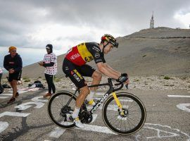 A spectator near the summit of Mont Ventoux encourages Wout Van Aert(Jumbo-Visma) during his victory at Stage 11: Sorgues > Malacuene. (Image: Reuters)