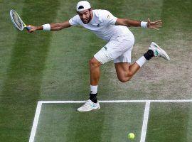 Matteo Berrettini hits a shot during the men's final of the 2021 Wimbledon tournament. (Image: Getty)