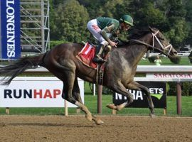 Wit breezed to an eight-length victory in Saturday's Sanford Stakes at Saratoga. He vaulted to the front of 2022 Kentucky Derby prospects, winning his two races by a combined 14 lengths. (Image: Susie Raisher/Coglianese Photos)