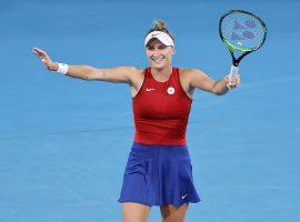 Marketa Vondrousova (pictured) will take on Belinda Bencic in the final of the Olympic women's tennis singles final on Saturday. (Image: Getty)